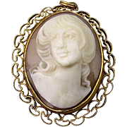 SALE PENDING BURT CASSELL Gold-Filled Carved Shell Cameo Pin Pendant 3-D Carving