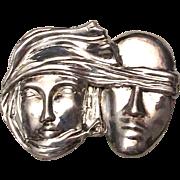Modernist Sidney Carron Paris Figural Faces Pin Brooch