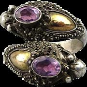 Old Bali Sterling Silver Double Head Dragon Wrap Ring w/ Amethyst