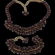 Old 1920s Red Garnet Glass Bead Dangles Set Necklace - Bracelet