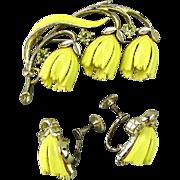 Vintage LISNER Hanging Bell Flowers Pin - Earrings Set