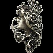 SALE PENDING Vintage Sterling Silver Ring Pretty Girl Flowing Hair w/ Crown