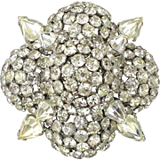 WARNER Floral Pin Mound of Clear Crystal Rhinestone Ice Brooch