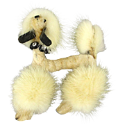 1950s White Mink French Poodle Dog Pin Brooch