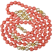SALE PENDING Long Vintage Coral Bead Necklace w/ 14K Gold & Pearls