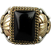 Big Mens Native American Sterling Silver Ring w/ Onyx Signed