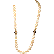 Givenchy 1980s Big Faux Pearl Necklace w/ Ornate Faux Gold / Ruby Jewels