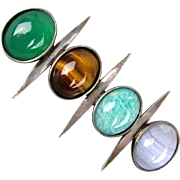 Modernist Sterling Silver Pin w/ Gemstones