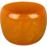 Wide 2 Inch Butterscotch Faux Bakelite Bangle Bracelet