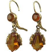Euro Art Deco 14K Gold Topaz Drop Earrings Pierced Lever Back
