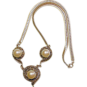 Gorgeous Sterling Silver Necklace w/ Big Faux Pearls & Little Marcasites