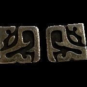 Antonio Pineda Taxco 970 silver cufflinks Pre-Columbian
