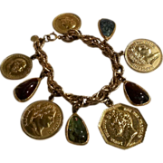 Accessocraft New York charm bracelet bezel glass, coin