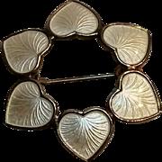 Volmer Bahner sterling enamel hearts pin Denmark
