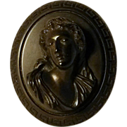 Vulcanite Cameo pin high relief