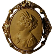 Lava Cameo pin Demeter crown of wheat
