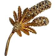 DeNicola pin rhinestone cattails and ferns