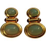 Elizabeth Taylor Taylored earrings moonstone glass cabochons
