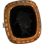 Glass intaglio ring 14K gold band custom made