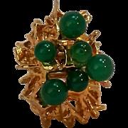 Bijoux Burma Paris ring Brutalist green glass stones