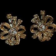 Mazer sterling silver clip earrings rhinestone