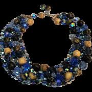 Coro blue crystal bead necklace 5 strand ab nail head round