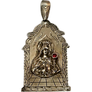 Sterling Mother Mary pendant red stone