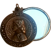 Joan of Arc antique slide mirror pendant Jehanne d'Arc