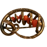 Victorian knot pin genuine coral beads