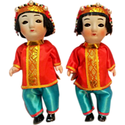 Japanese twin squeaker dolls bisque head jointed