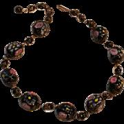 Venetian glass bead necklace black aventurine pink roses