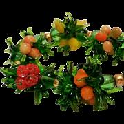 Murano Glass fruit bead cluster necklace lemon, peach, orange strawberries