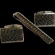Midcentury Modern 800 silver cufflinks tie bar set Poland SC