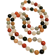 "Jade bead necklace multi color stone 29"" long"