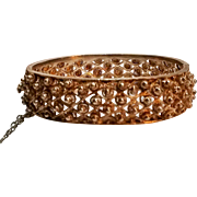 Silver cannetille hinged bangle bracelet 40.6 grams