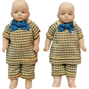 Miniature all bisque dollhouse doll twin boys 620 / 9