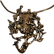 Hobe Brutalist pendant necklace abstract ocean scene mermaid branch coral cultured pearl