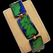 Kay Denning enamel on copper bracelet green on blue