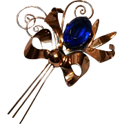 "4"" Sterling vermeil pin blue glass stone bow"