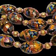 Millefiori aventurine glass bead necklace