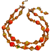 Vendome two strand art glass crystal bead necklace orange yellow