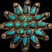 Southwest  petit point turquoise pin
