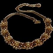 Trifari necklace simulated pearl rhinestone bow motif