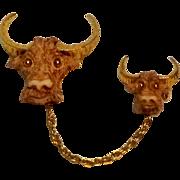 Razza chatelaine pin longhorn ox bull steer