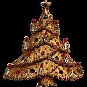 JJ Christmas tree pin baguette rhinestone candles
