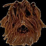 Shaggy fox chain fringe rhinestone Dog head pin pendant