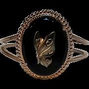 Hematite glass butterfly clamper bracelet