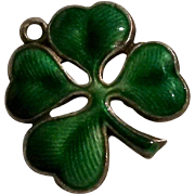 Walter Lampl sterling guilloche enamel shamrock charm green