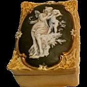 Antique Schafer & Vater bisque jasperware porcelain vanity box Eros & Aphrodite green