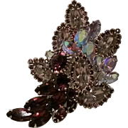 Navette rhinestone purple ab brooch pin